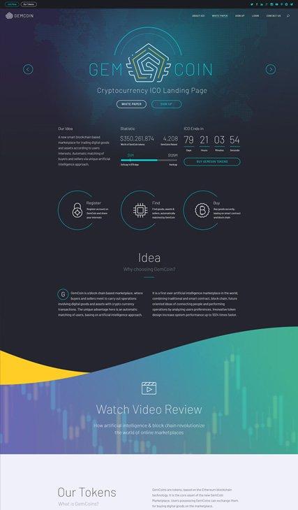 Cryptocurrency & ICO Landing